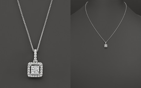 Diamond Princess Cut Halo Pendant Necklace in 14K White Gold, .40 ct. t.w. - 100% Exclusive - Bloomingdale's_2