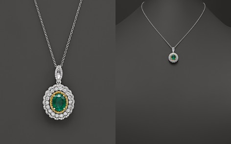 """Emerald, Yellow Diamond and White Diamond Pendant Necklace in 14K White and Yellow Gold, 17"""" - 100% Exclusive - Bloomingdale's_2"""