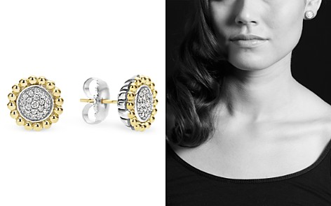 LAGOS Sterling Silver and 18K Gold Caviar Stud Earrings with Diamonds - Bloomingdale's_2