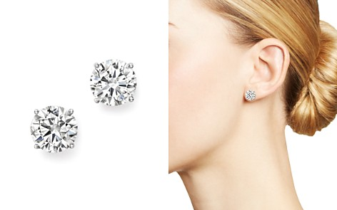 Bloomingdale's Certified Diamond Stud Earrings in 14K White Gold, 3.0 ct. t.w. - 100% Exclusive_2