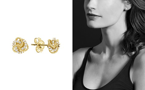 LAGOS 18K Yellow Gold Love Knot Stud Earrings with Diamonds - Bloomingdale's_2