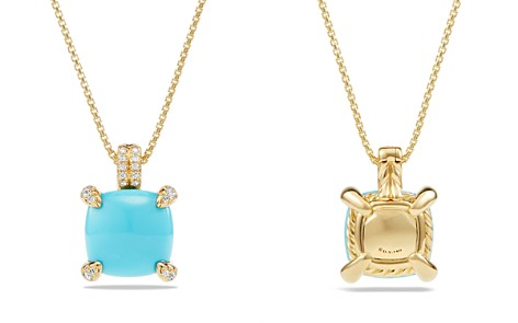 David Yurman Châtelaine Pendant Necklace with Turquoise and Diamonds in 18K Gold - Bloomingdale's_2