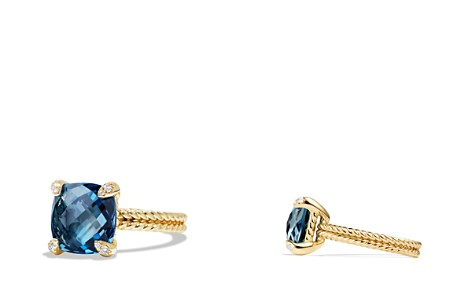 David Yurman Châtelaine Ring with Hampton Blue Topaz and Diamonds in 18K Gold - Bloomingdale's_2