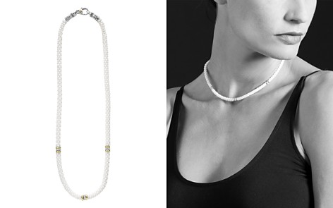 """LAGOS White Caviar Ceramic and 18K Yellow Gold 3-Station Rope Necklace with Diamonds, 16"""" - Bloomingdale's_2"""