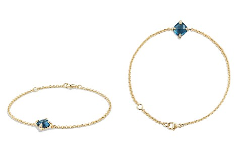 David Yurman Châtelaine Bracelet with Hampton Blue Topaz and Diamonds in 18K Gold - Bloomingdale's_2