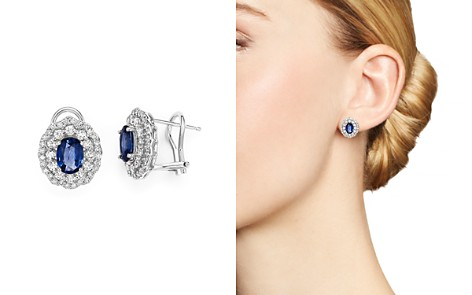 saphire blue jewelers stud earrings sapphire product reuven diamond gitter halo and