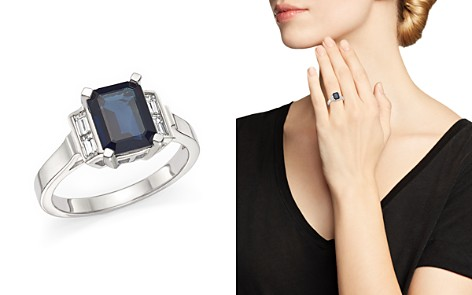 Sapphire and Baguette Diamond Ring in 14K White Gold - 100% Exclusive - Bloomingdale's_2