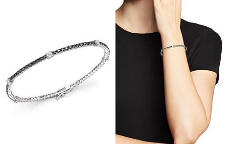 Black and White Diamond Tennis Bracelet in 14K White Gold - 100% Exclusive - Bloomingdale's_2