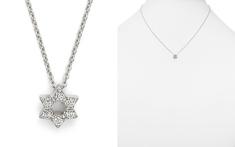 "Roberto Coin 18K White Gold Star of David Pendant Necklace with Diamonds, 16"" - Bloomingdale's_2"