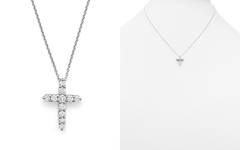 "Roberto Coin 18K White Gold Cross Pendant Necklace with Diamonds, 16"" - Bloomingdale's_2"