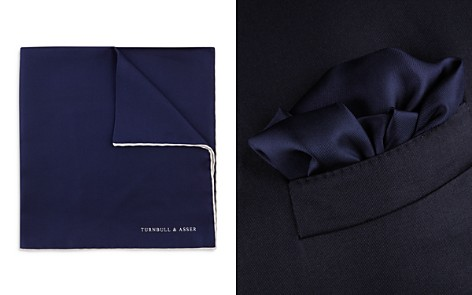 Turnbull & Asser Basic Solid Pocket Square with Border - Bloomingdale's_2