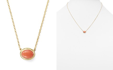 """Coral Bezel Set Pendant Necklace in 14K Yellow Gold, 18"""" - 100% Exclusive - Bloomingdale's_2"""
