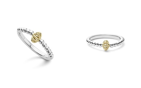 LAGOS Caviar Icon 18K Gold and Sterling Silver Fluted Bead Stacking Ring - Bloomingdale's_2