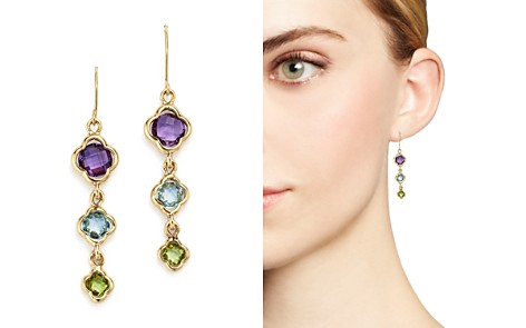 Multicolored Gemstone Triple Clover Drop Earrings in 14K Yellow Gold - 100% Exclusive - Bloomingdale's_2