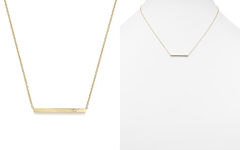 "Zoë Chicco 14K Yellow Gold Bar Necklace with Diamond, 16"" - Bloomingdale's_2"