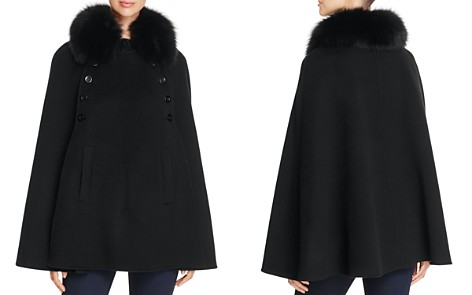 Maximilian Furs Fox Fur Collar Wool & Cashmere Cape - 100% Exclusive - Bloomingdale's_2