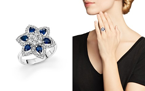 Sapphire and Diamond Flower Ring in 14K White Gold - 100% Exclusive - Bloomingdale's_2