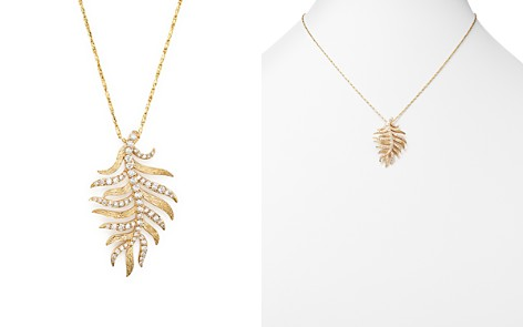 Diamond Feather Pendant Necklace in 14K Yellow Gold, .60 ct. t.w. - Bloomingdale's_2