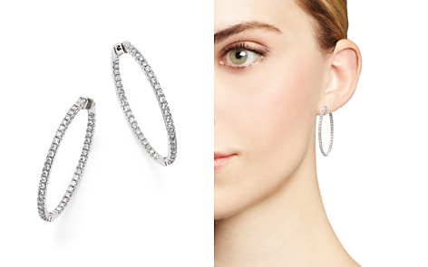 Diamond Inside Out Oval Hoop Earrings in 14K White Gold, 1.75 ct. t.w. - 100% Exclusive - Bloomingdale's_2