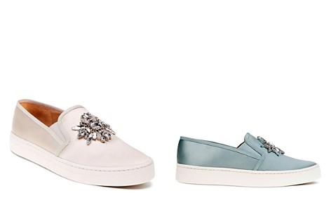 Badgley Mischka Barre Satin Embellished Slip-On Sneakers - Bloomingdale's_2