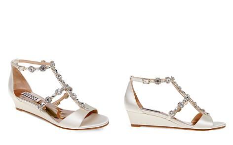 Badgley Mischka Terry Embellished T Strap Wedge Sandals - Bloomingdale's_2