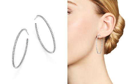Roberto Coin 18K White Gold Extra Large Hoop Earrings with Micro Pavé Diamonds - Bloomingdale's_2