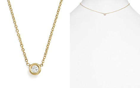 "Zoë Chicco 14K Yellow Gold Choker with Diamond Pendant, 14"" - Bloomingdale's_2"