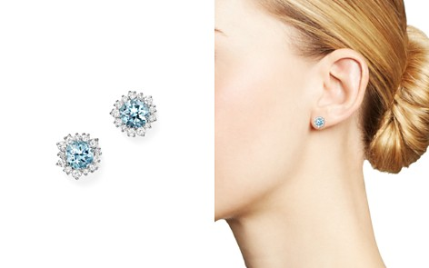 Aquamarine and Diamond Halo Stud Earrings in 14K White Gold - 100% Exclusive - Bloomingdale's_2