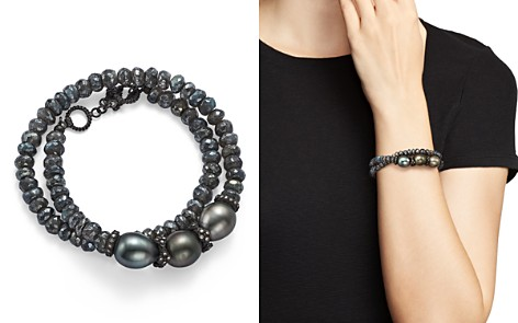 Armenta Old World Midnight Beaded Labradorite, Tahitian South Sea Black Pearl, and Champagne Diamond Double Wrap Bracelet - Bloomingdale's_2