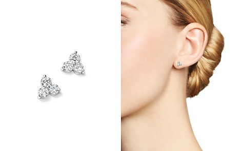 Diamond Three Stone Stud Earrings In 14k White Gold 90 Ct T W