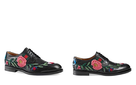 Gucci Leather Brogue Lace-Up Derby Shoes with Embroidery - Bloomingdale's_2