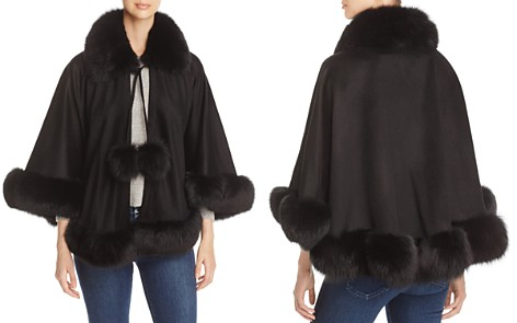 Maximilian Furs Fox Fur Trim Cashmere Cape - 100% Exclusive - Bloomingdale's_2