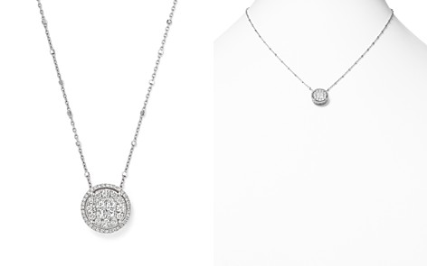 Round and Princess-Cut Diamond Cluster Pendant Satellite Necklace in 14K White Gold, 1.0 ct. t.w. - 100% Exclusive - Bloomingdale's_2