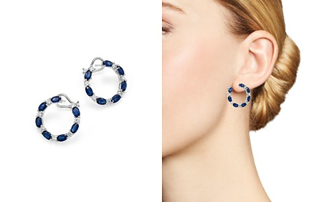 Bloomingdale's Blue Sapphire & Diamond Circle Front-Back Hoop Earrings in 14K White Gold - 100% Exclusive _2