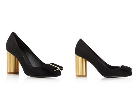 Salvatore Ferragamo Women's Suede Floral Heel Pumps - Bloomingdale's_2