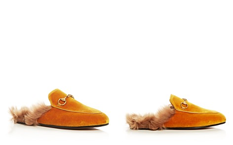 Gucci Women's Princetown Velvet and Lamb Fur Mules - Bloomingdale's_2