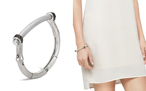 John Hardy Brushed Sterling Silver Bamboo Small Shackle Bangle with Black Sapphire - Bloomingdale's_2