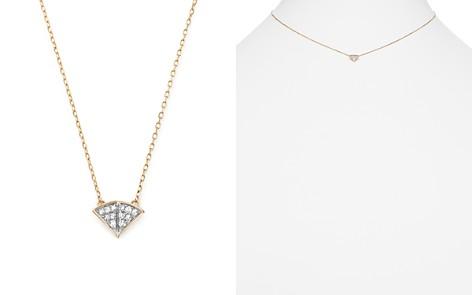 """Adina Reyter 14K Yellow Gold Tiny Pavé Diamond Fan Pendant Necklace, 15"""" - Bloomingdale's_2"""