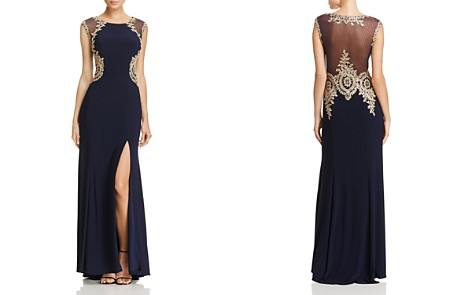 AQUA Mesh-Back Embroidered Gown - 100% Exclusive - Bloomingdale's_2