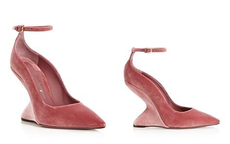 Salvatore Ferragamo Tivoli Velvet F-Wedge Ankle Strap Pumps - Bloomingdale's_2
