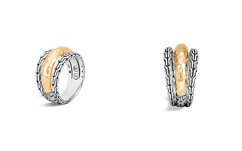 John Hardy Classic Chain Hammered 18K Gold and Sterling Silver Triple Band Ring - Bloomingdale's_2
