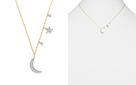 Diamond pendant necklace bloomingdales meira t 14k white and yellow gold diamond moon and star pendant necklace 16 aloadofball Images