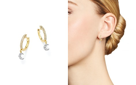 Meira T 14k White And Yellow Gold Moon Charm Hoop Earrings With Diamonds Bloomingdale