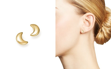 14K Yellow Gold Crescent Moon Stud Earrings - 100% Exclusive - Bloomingdale's_2
