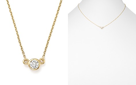 Diamond Bezel Pendant Necklace in 14K Yellow Gold, .25 ct. t.w. - 100% Exclusive - Bloomingdale's_2