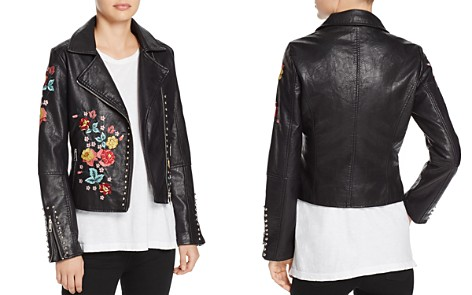 Molly Bracken Floral-Embroidered Faux Leather Biker Jacket - Bloomingdale's_2