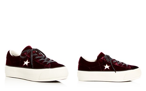 Converse Women's One Star Velvet Lace Up Platform Sneakers - Bloomingdale's_2
