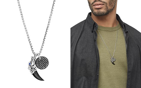 "John Hardy Sterling Silver Legends Naga Silver Sheen Obsidian Charm Necklace with Blue Sapphire Eyes, 26"" - Bloomingdale's_2"