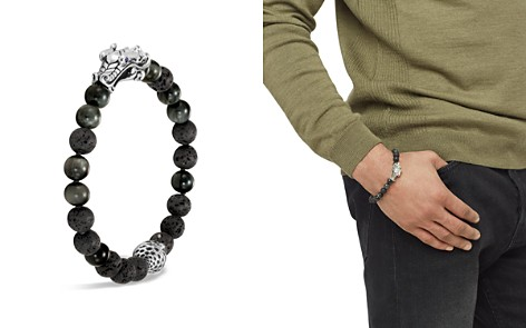 John Hardy Men's Sterling Silver Legends Naga Black Volcanic Rock Beaded Bracelet with Sapphire Eyes - Bloomingdale's_2