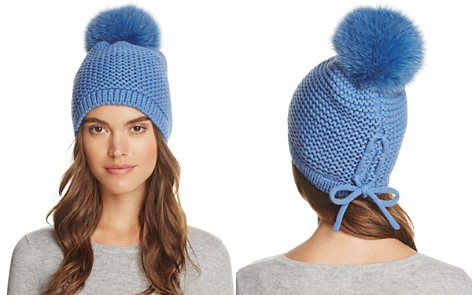Kyi Kyi Slouchy Hat with Fox Fur Pom-Pom - 100% Exclusive - Bloomingdale's_2